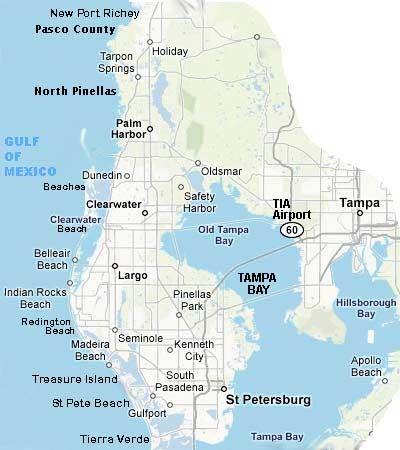 map pinellas pasco hillsborough county tampa bay florida